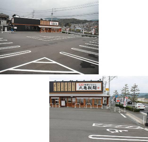 駐車場は店舗入口前に身障者専用駐車場が1台分あり、全部で27台駐車できます。