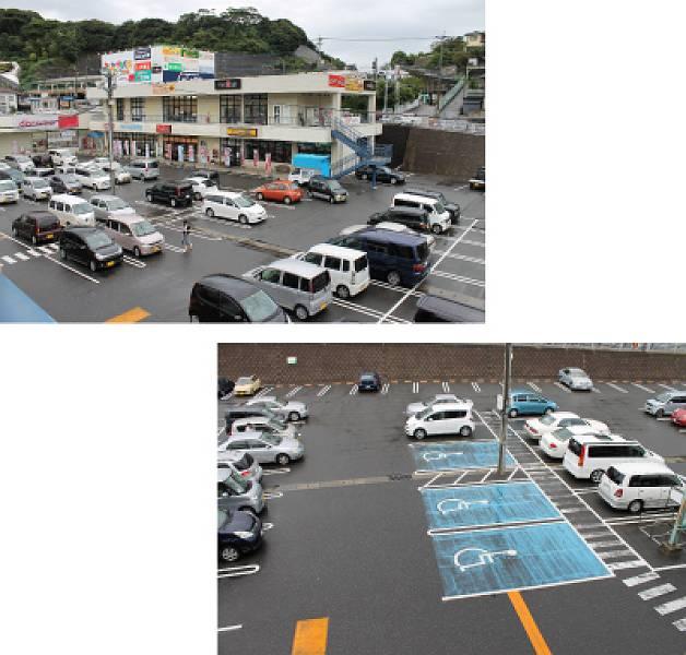 駐車場は大変広く、地上部に約140台(内3台が身障者用駐車スペースです。)、ララプレイス屋上に約100台(内3台が身障者用駐車スペース)分あります。屋上からは段差なくエレベーターでララプレイスにおりる事ができます。