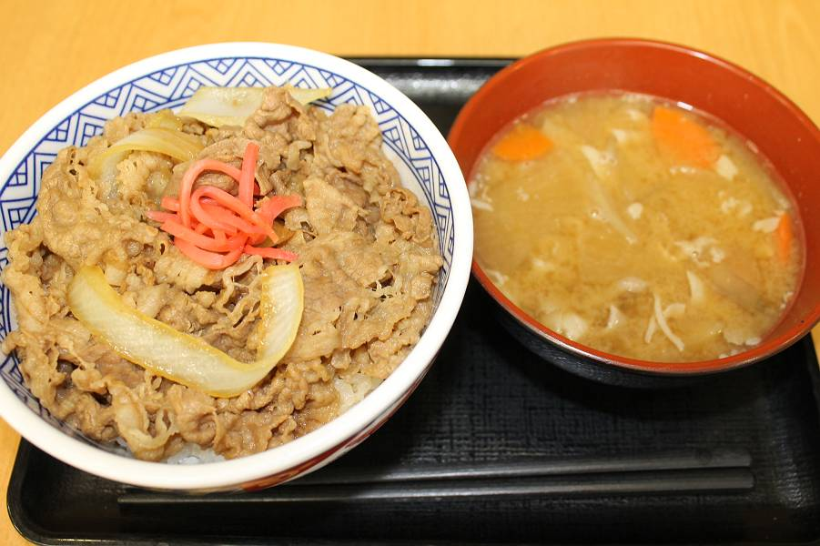 牛丼(並) 380円+豚汁 150円